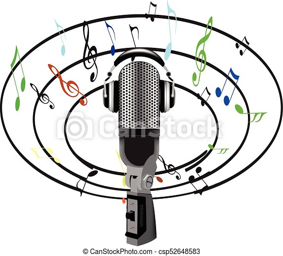 Microphone And Music Notes All Around