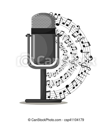 Microphone And Music Notes Design Microphone And Music Notes Icon