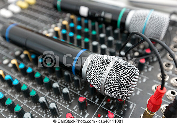 Microphone and sound mixer in public area concert stage