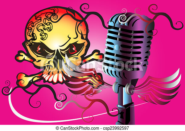 microphone art rock - csp23992597