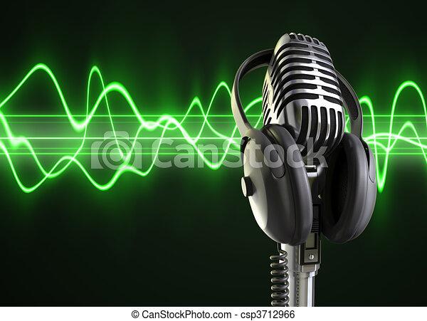 microphone, audio, vagues, & - csp3712966
