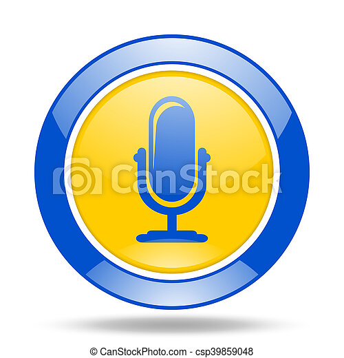 microphone blue and yellow web glossy round icon - csp39859048