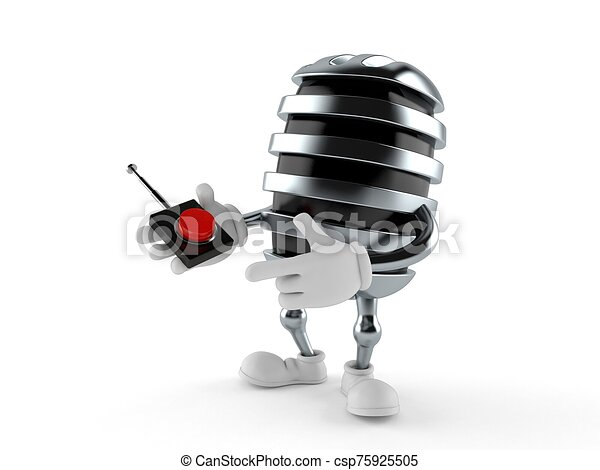 Microphone character pushing button on white background - csp75925505