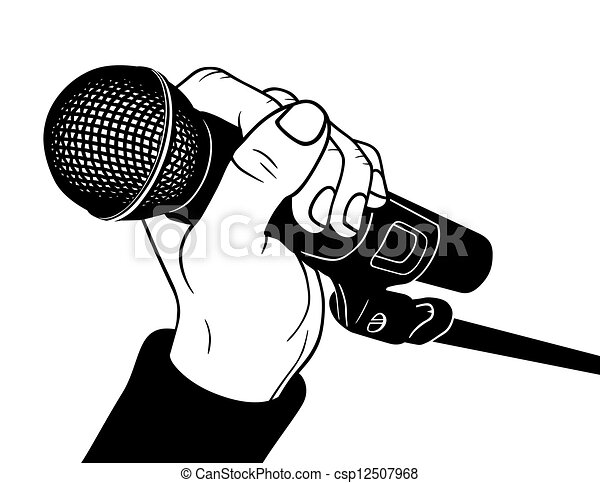 hand with microphone vector illustration clip art vector search rh canstockphoto com microphone clipart png microphone clip art free