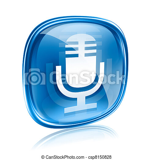 Microphone icon blue, isolated on white background - csp8150828