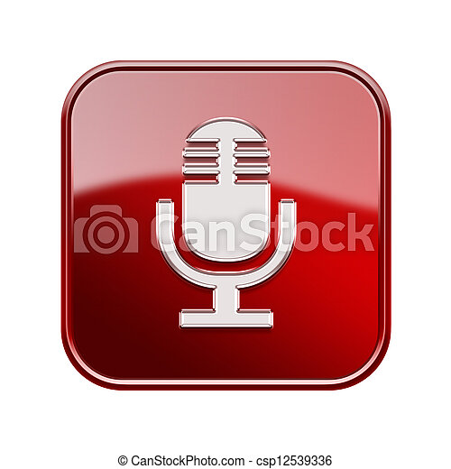 Microphone icon glossy red, isolated on white background - csp12539336