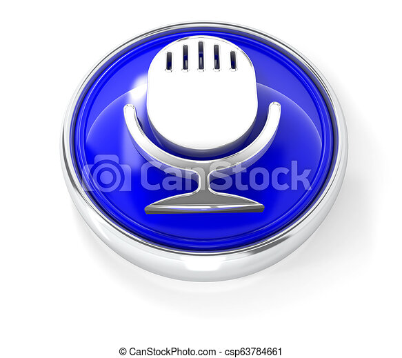 Microphone icon on glossy blue round button - csp63784661