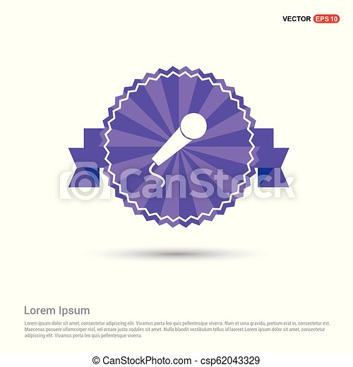 Microphone icon - Purple Ribbon banner - csp62043329