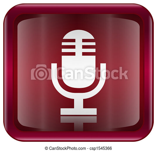 Microphone icon red, isolated on white background - csp1545366