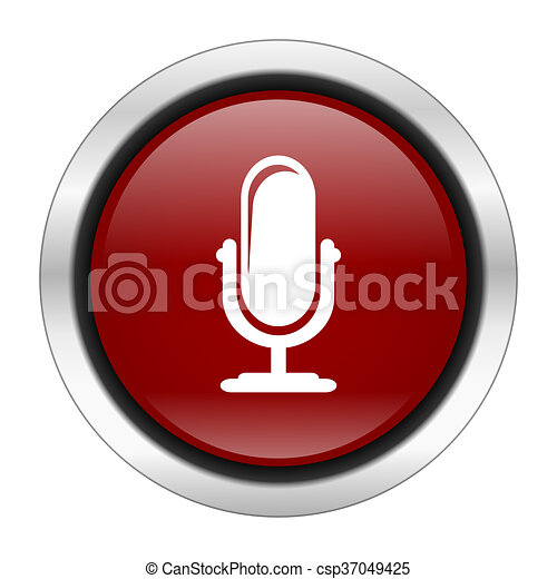 microphone icon, red round button isolated on white background, web design illustration - csp37049425