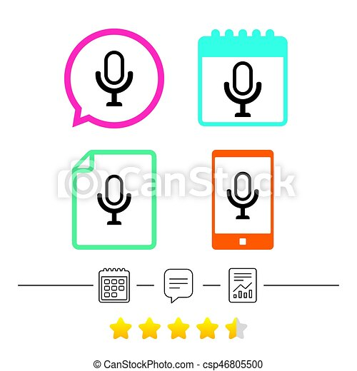 Microphone Icon Speaker Symbol Live Music Sign Calendar Chat
