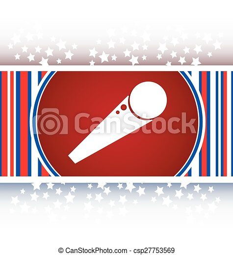 microphone icon web button isolated on white background vector - csp27753569