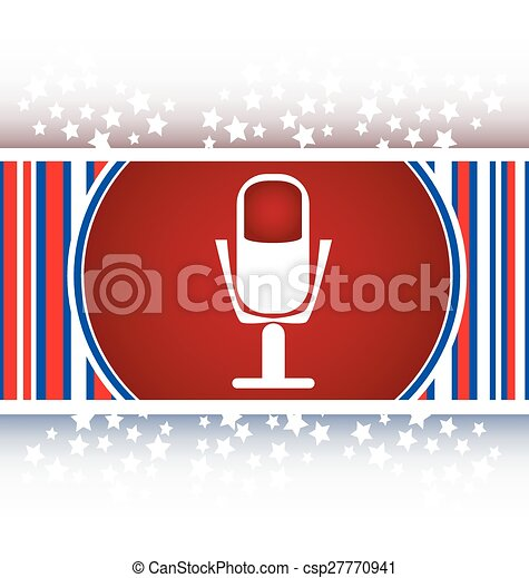 microphone icon web button isolated on white background - csp27770941