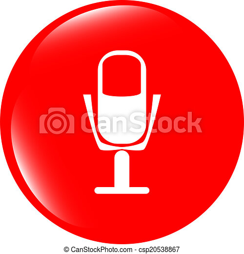 microphone icon web button isolated on white background - csp20538867