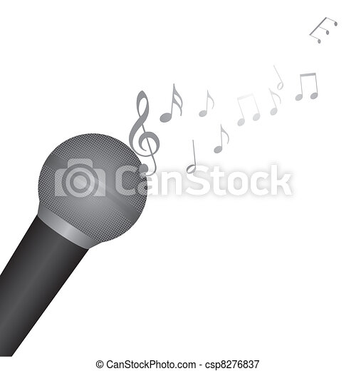 Microphone With Music Notes Over White Background Vector