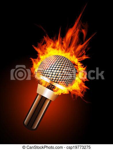 Microphone in Fire - csp19773275