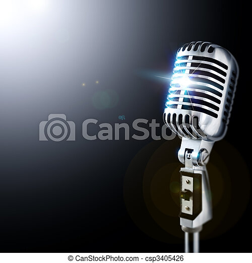 Microphone In Spotlight - csp3405426