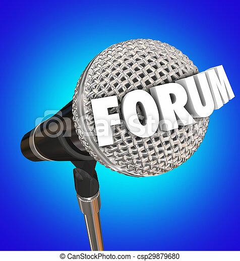 microphone, mot, réaction, forum, ouvert, discussion, part, opinion, réunion - csp29879680