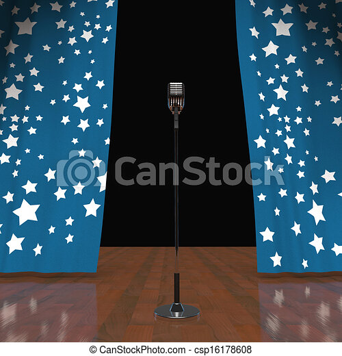 Microphone On Stage Shows Concert Or Talent Show - csp16178608