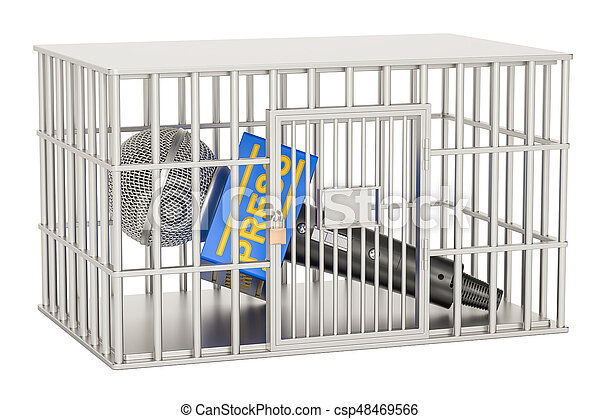 Microphone press inside cage, prison cell. Freedom of the press prohibition concept. 3D rendering - csp48469566