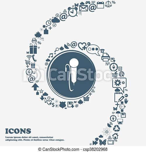 microphone sign icon in the center. Around the many beautiful symbols twisted in a spiral. You can use each separately for your design. Vector - csp38202968