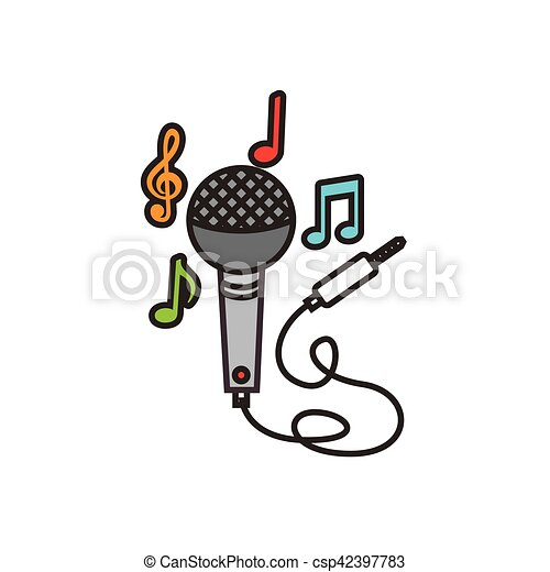 Microphone With Cord Icon And Musical Notes Over White Background