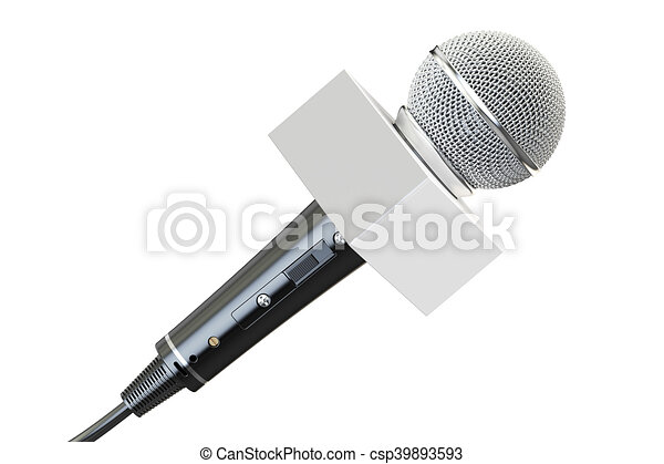 microphone with white box, 3D rendering