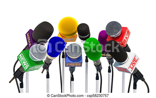Microphones of different mass media, radio, tv and press for press conference or interview. 3D rendering - csp58230757