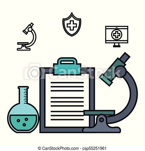 Microscope clipboard test tube medical element vector illustration microscope clipboard test tube medical element csp55251961 ccuart Images