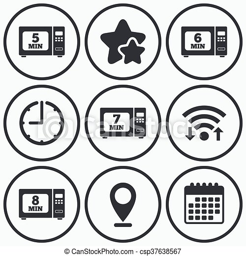 Microwave Oven Icons Cook In Electric Stove Clock Wifi And Stars