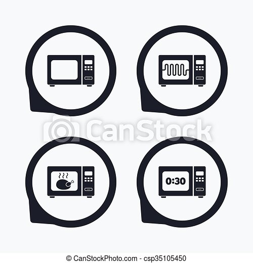 Microwave Oven Icons Cook In Electric Stove Microwave Oven Icons