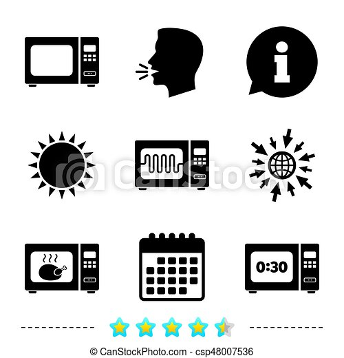 Microwave oven icons. Cook in electric stove. - csp48007536