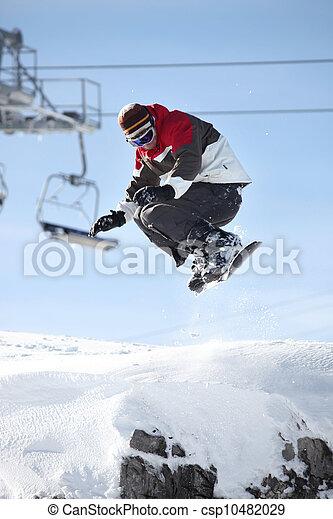 mid-air , snowboarder  - csp10482029