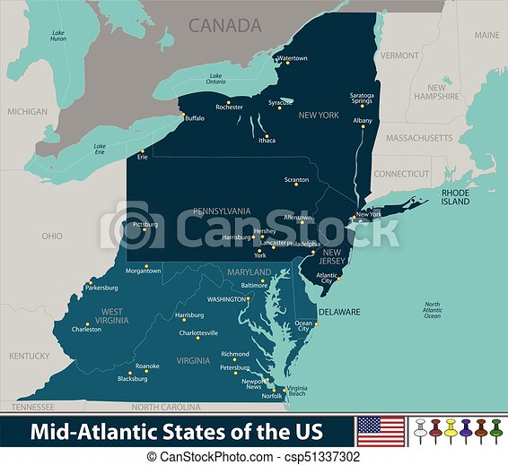 Mid Atlantic States Of The United States Vector Map Of Mid Atlantic