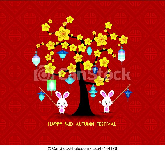 Mid autumn festival rabbit playing with lanterns happy greeting card mid autumn festival rabbit playing with lanterns happy greeting card csp47444178 m4hsunfo