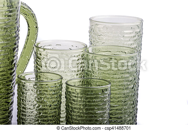 Mid Century Avocado Glassware - csp41488701