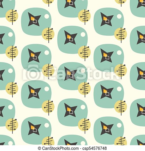Mid Century Modern Seamless Pattern 1950s Vintage Style Atomic Background Retro Vector Illustration