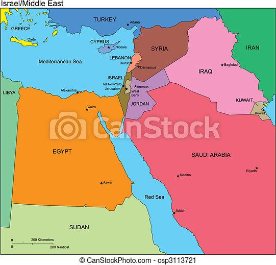 middelbare , israël, oosten, landen, namen - csp3113721