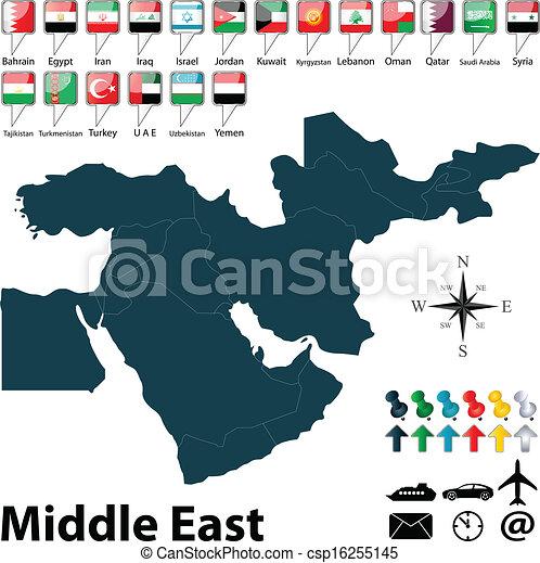 midden-oosten, politiek, kaart - csp16255145
