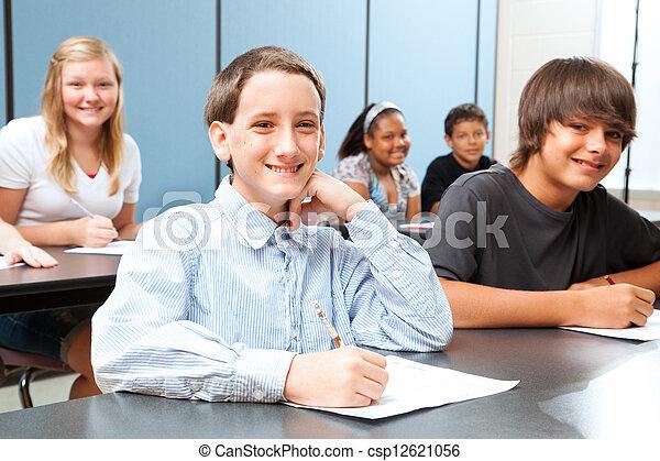 middenschool, stand, jongen - csp12621056