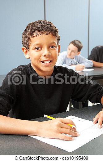 middenschool, stand, jongen - csp10195409