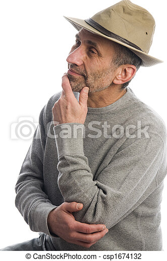 middle age man adventure hat thinking - csp1674132