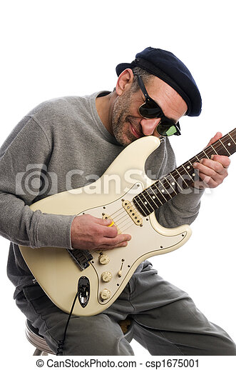 middle age man playing guitar musician - csp1675001