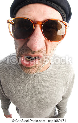 middle age senior man  grumpy funny face twisted mouth wearing artist french hippie beret hat macro close up distorted large nose face - csp1669471