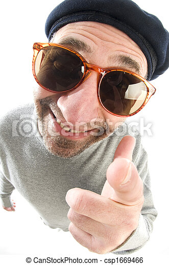 middle age senior man happy smiling pointing finger at camera wearing artist french hippie beret hat macro close up distorted large nose face - csp1669466
