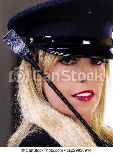 Middle Aged Caucasian Blond Woman Portrait Hat Crop - csp29936914