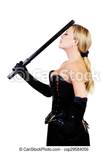 Middle Aged Caucasian Woman Standing Corset And Baton - csp29584056