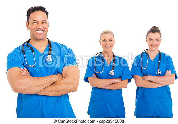 middle aged doctor with medical team  - csp23315008