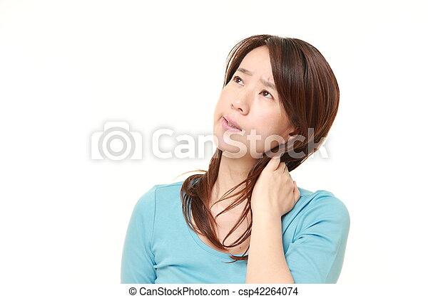 middle aged Japanese woman suffers from neck ache - csp42264074