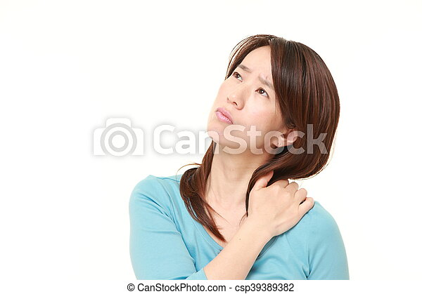 middle aged Japanese woman suffers from neck ache - csp39389382